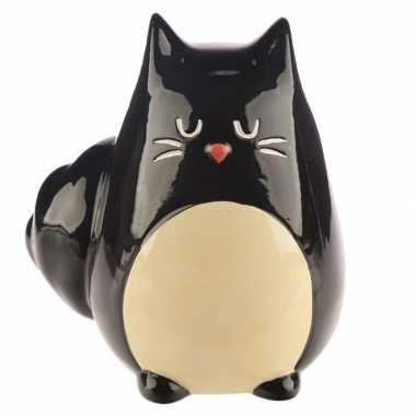 Grote spaarpot zwarte kat/katten beeldje