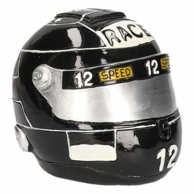 Grote spaarpot zwarte race helm