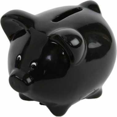 Grote spaarvarken zwart spaarpot