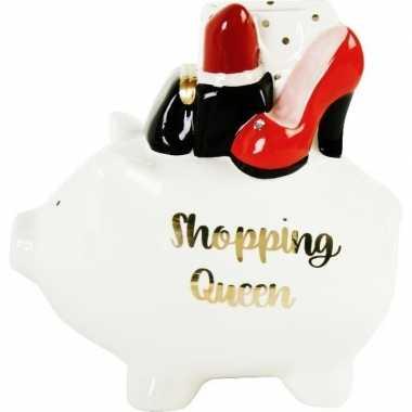 Grote witte spaarpot/spaarvarken shopping queen