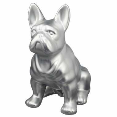 Grote zilveren franse bulldog honden spaarpot