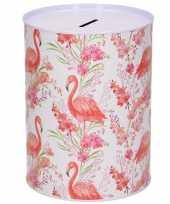 Grote dieren spaarpot flamingo planten metaal