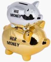 Grote goud zilveren spaarvarken his her spaarpot