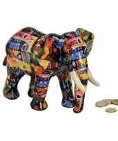 Grote luxe spaarpot olifant blauw keramiek