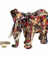 Grote luxe spaarpot olifant rood keramiek