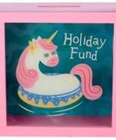 Grote roze vakantie fonds spaarpot eenhoorn