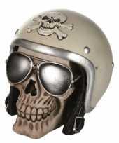 Grote schedel spaarpot motorhelm