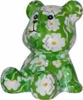 Grote spaarpot beer groen witte bloemen