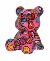 Grote spaarpot beer roze met lippen smiley