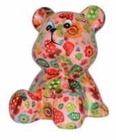Grote spaarpot beer roze paddestoel