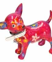 Grote spaarpot chihuahua hond paars roze bloemen