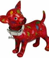 Grote spaarpot chihuahua hond rood flamingos