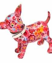 Grote spaarpot chihuahua hond roze olifant bloemen