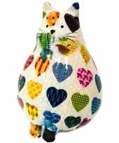 Grote spaarpot dikke kat poes wit hartjes