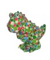 Grote spaarpot dinosaurus gekleurde stippen