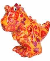 Grote spaarpot dinosaurus oranje peace teken