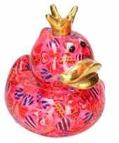 Grote spaarpot eend kroontje fuchsia roze gekleurde snoepjes