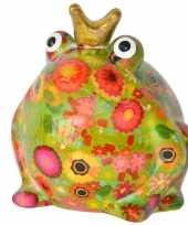 Grote spaarpot kikker kroontje groen 10181635