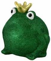 Grote spaarpot kikker kroontje groen glitters
