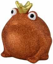 Grote spaarpot kikker kroontje oranje glitters