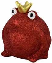 Grote spaarpot kikker kroontje rood glitters