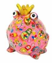 Grote spaarpot kikker kroontje roze 10181643