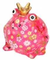 Grote spaarpot kikker kroontje roze gekleurde bloemetjes