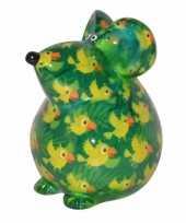 Grote spaarpot muis groen type 10085822