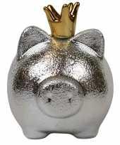 Grote spaarpot spaarvarken zilver kroon