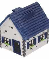 Grote spaarpot type woonhuis wit blauw