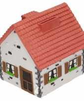 Grote spaarpot type woonhuis wit rood
