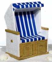 Grote strandstoel spaarpot blauw wit keramiek